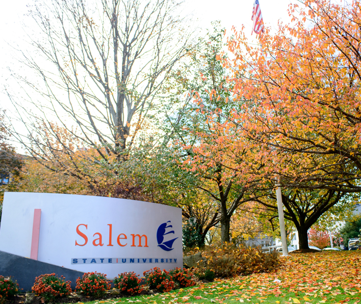 Salem State sign in fall