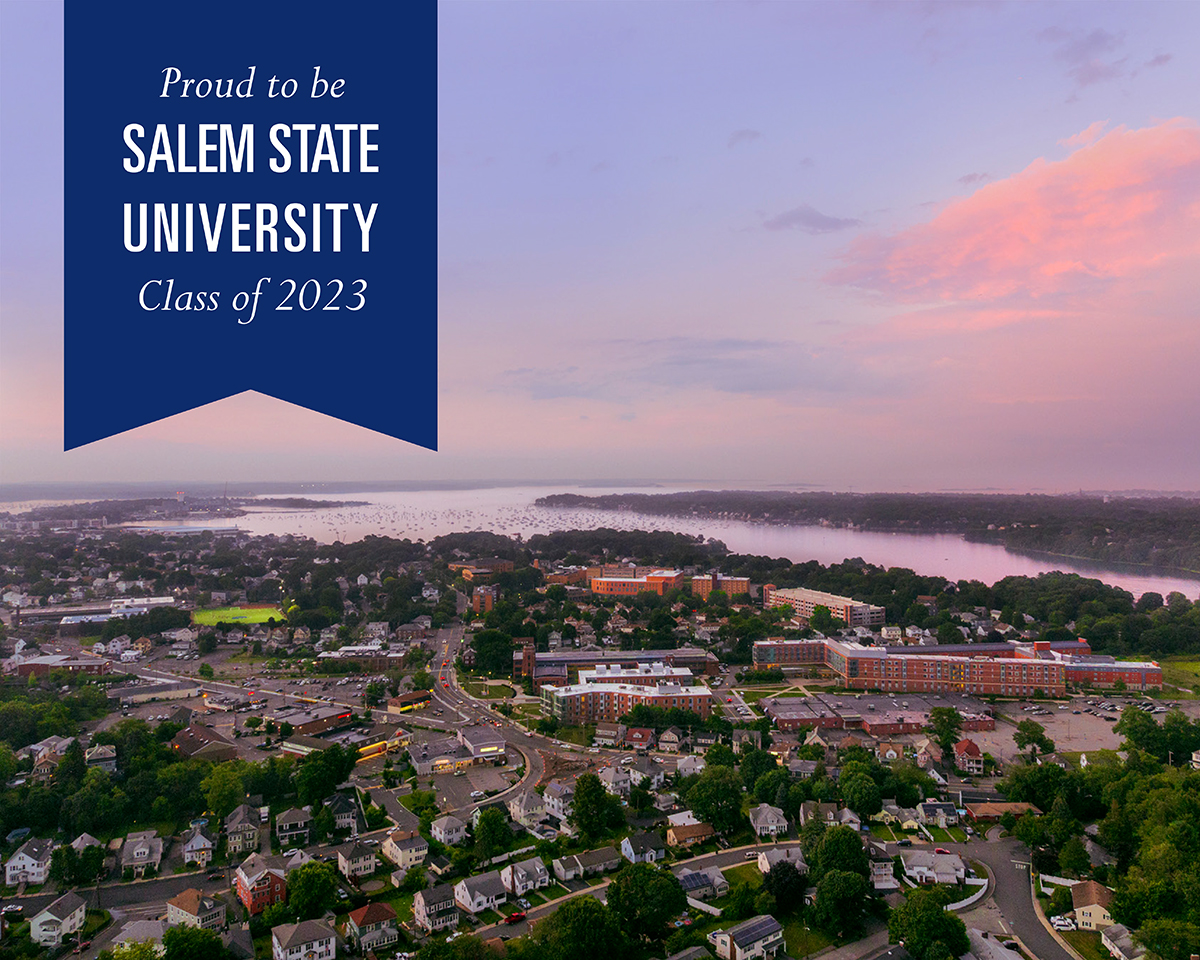 Sunset photo with banner text: Proud to be Salem State University Class of 2023