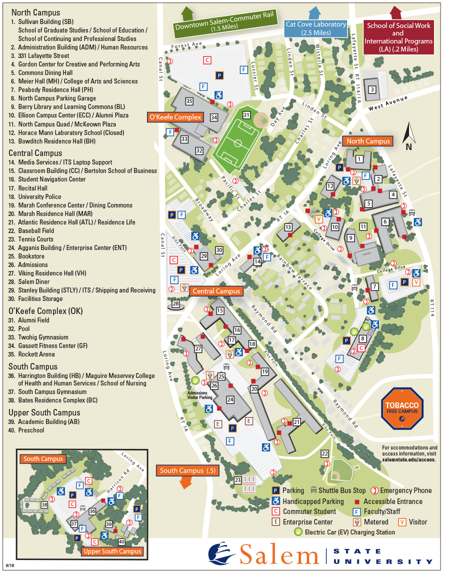bates college campus map Campus Map Salem State University bates college campus map