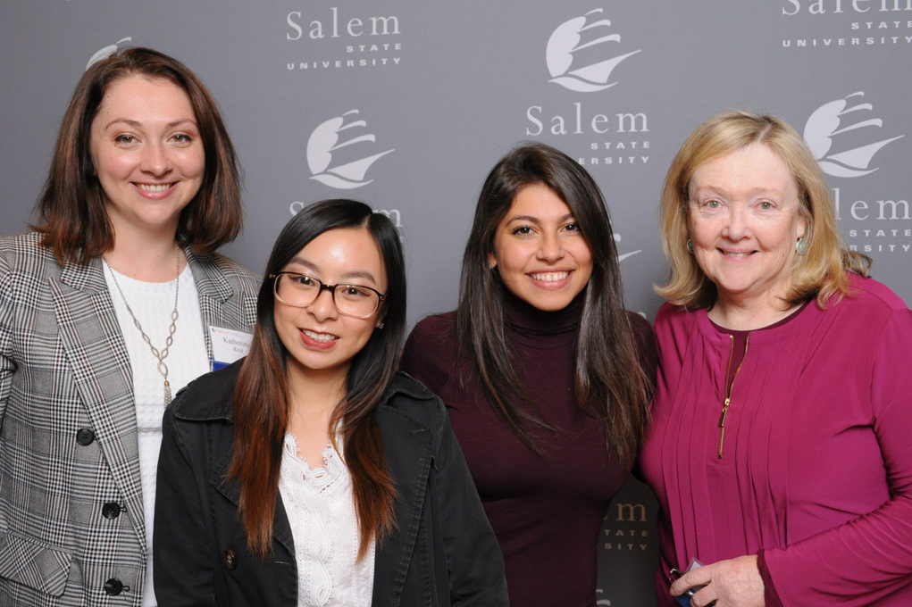 From left are Katherine Reid, student scholars Tina Huynh and Zeinab Jubeili, and Carole Reid.