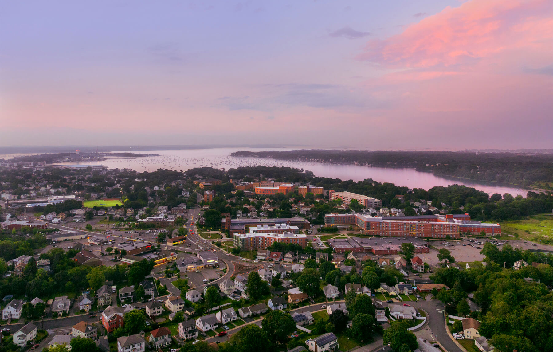 Salem State University campus aerial at sunset
