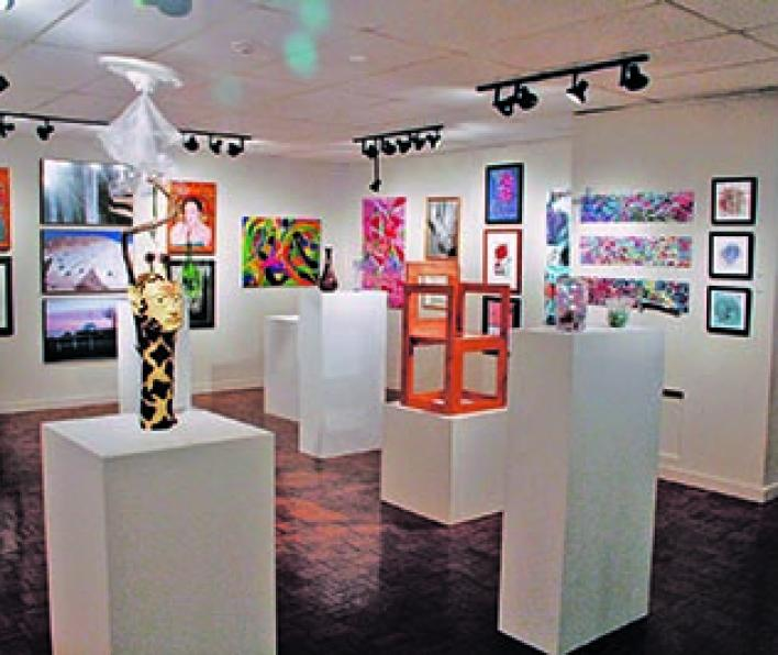 Student's art is displayed in the Winfisky Gallery