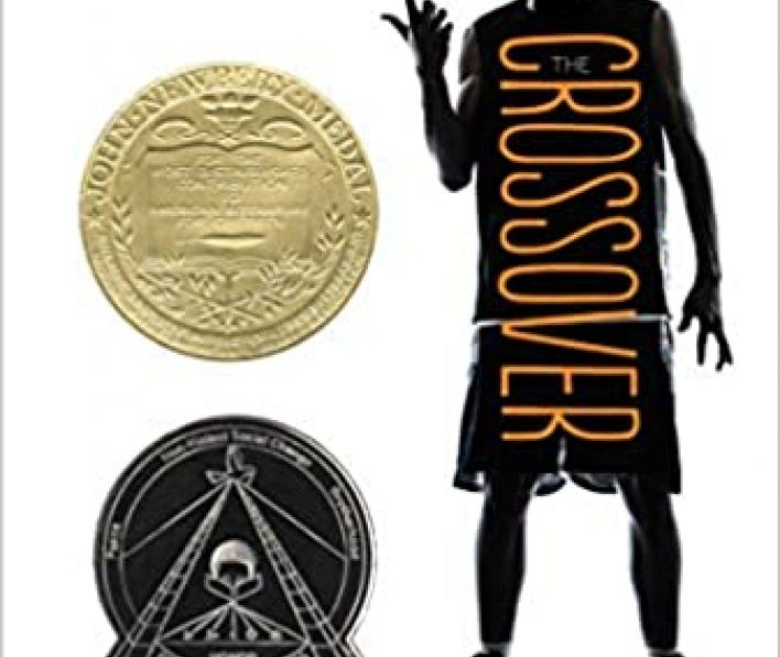 Cover image is a white background with a photograph of a boy in basketball shorts, a jersey, and sneakers twirling a graphic image of a basketball on one finger. The boy is in shadow and the word CROSSOVER is written in orange down the center of his torso. At the top of the page is says Bold! Explosive! I love The Crossover. Everyone will. Nikki Giovanni. The graphic image of the basketball is made up of words: is sizzling, my sweats, that cuz. The author is Kwame Alexander