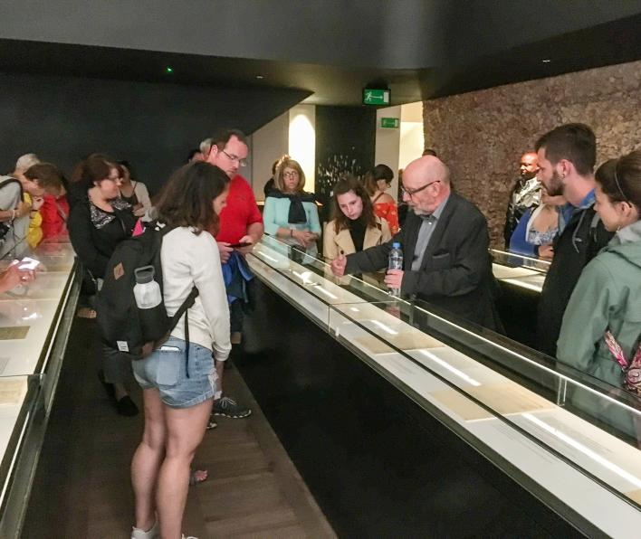 Salem State Students tour the Jewish Historical Institute in Warsaw, Poland with Director Pawel Spiewak as part of the 2018 study and travel course on the Holocaust in Germany, Austria and Poland.