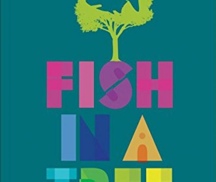 "Cover image of Fish in a Tree. It is a team background. Text on top reads ""by the author of One for the Murphys"" Lynda Mullaly Hunt. Graphic image of a lime green tree with a fish cut out in the center. The fish has a large white eye. The tree is growing out to the S in the word Fish in the title. Fish is written in pink block capitals. Centered below it are the words In A, also in graphic capitals. In is in blue and A in orange. Centered at the bottom is the word ""tree"" in blue, green, and yellow."