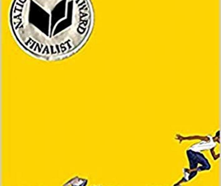 The cover of the book Ghost is bright yellow. The author's name appears at the top as one word in lowercase jason reynolds. There is a National Book Award Finalist silver sticker. A cartoon image of a black boy wearing a white tank top, jeans and sneakers is running off the right side of the cover. An open shoe box and one sneaker are left behind. The subtitle is Running for his life or from it.