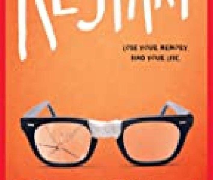 This is an ombre orange cover shading from light orange at the top to darker orange below. The word Restart is written in large white letters at the top. In small dark letters below the ART letters of the title it says Lose your memory. Find your life. Centered below that is a pair of black rimmed classes with tape across the bridge and the left lens cracked. Below that is the author's name: Gordon Korman. Below the author it says #1 Bestselling Author of Swindle and Slacker.