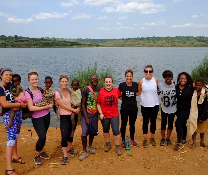 Salem State undergraduate and graduate Social Work students with students from the Agahozo-Shalom Youth Village in Rwanda.