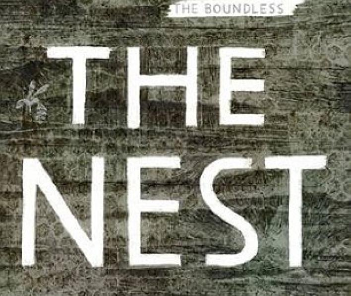 Cover image of The Nest by Kenneth Oppel. There is a grey/brown background that looks like wood with repeating hexagons lightly stamped on top. THere are three hornets almost the same color as the background. The words Kenneth Oppel International bestselling author of The Boundless float above the title. The Nest is in white letters across the center. Below it says illustrated by Kate Greenaway medal winner Jon Klassen.