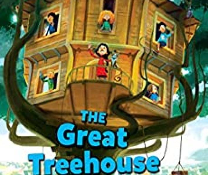 A cartoon image of a large tree with a huge, round, wooden treehouse with windows and a porch. There is a girl in a read dress with a dog waving from the porch. There are children looking out of each of the other five windows. A shelf on a pully suspends a few packages. Nailed planks up the trunk of the tree make a ladder. Lisa Graff is in large yellow letters at the top. The Great Treehouse War is in large blue letters in the lower third. Below Lisa Graff it says: Author of the National Book Award Nominee