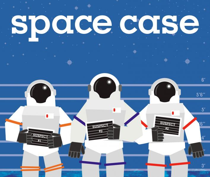 Cover image of Space Case by Stuart Gibbs. There is a blue background. The top half has pale blue spots to represent space. There are horizontal lines with measurements listed starting at 6' and progressing down through 5'6, 5', 4'6, 4', 3'6, and 3'. The last line has no measurement. Below the 3' line is a close up image of the surface of the moon. Arrayed in front of the measurement lines are three drawn images of people in space suits. Each holds a sign reading, respectively, suspect 1, 2, and 3.