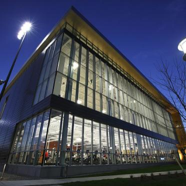 A shot of the Gasett Fitness Center at night.