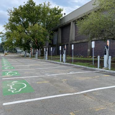 Newly installed parking spots designated to electric vehicle charging