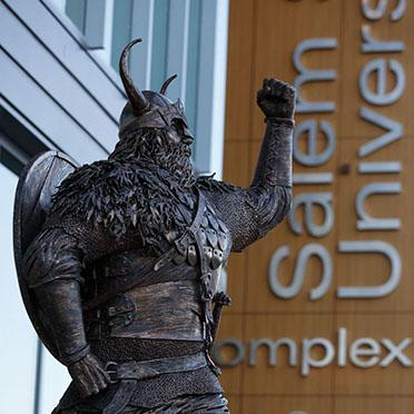 Viking statue outside of the Gassett Fitness Center