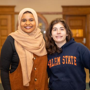 Salem State University students Abigail Mariano and Sabrina Mohamed pose for a photo. The two interned on Capitol Hill in summer of 2019.