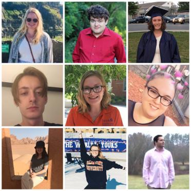Collage of 9 history students from the class of 2020