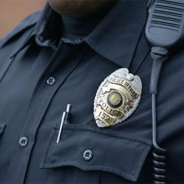 A police officer's badge displayed on his chest.