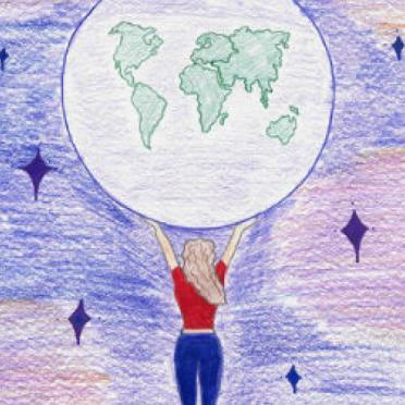 A child's drawing of a young girl in the night sky holding the moon with her bare hands.