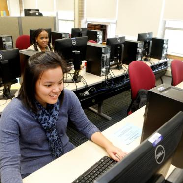 Students in nursing computer lab