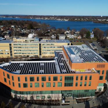 New solar panels on Salem State University's library.