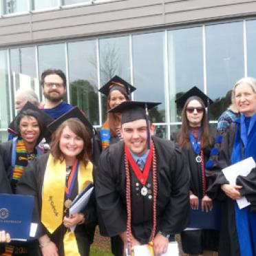 Political science students and faculty at commencement