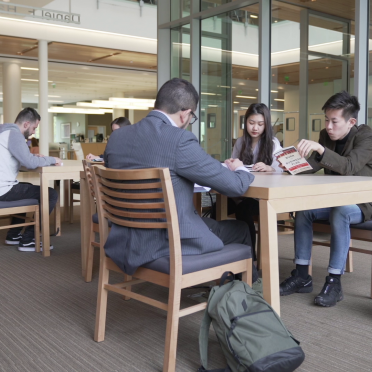 Students work in a group at the Berry Library
