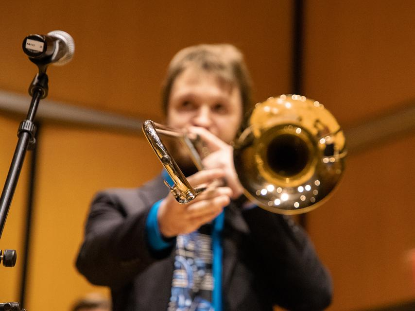 A student performing the trumpet at the Recital Hall