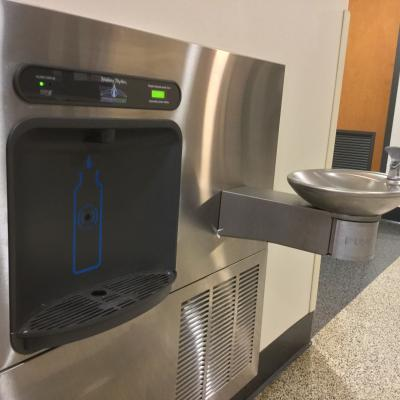Water bottle fill station on central campus
