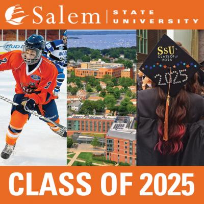 "Three images (hockey, campus aerial, graduate) with ""Class of 2025"""