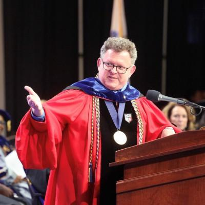 Provost David Silva during Salem State Commencement
