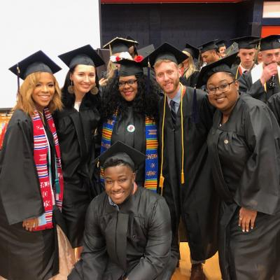 Sociology students at commencement
