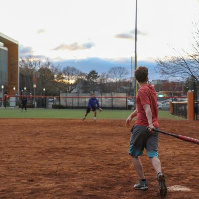 Student playing intramural softball