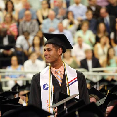 Student veteran at commencement