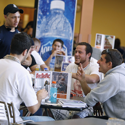 Students at a dining hall