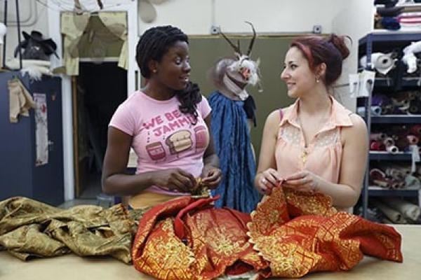 Students in the costume design lab.