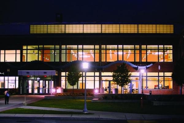 Central Campus building in the night time