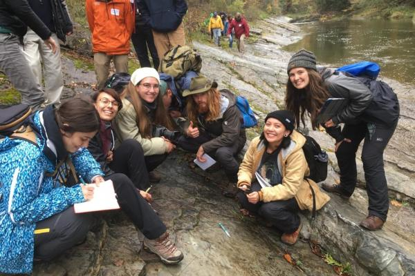 Students gather at a local conservation to conduct research