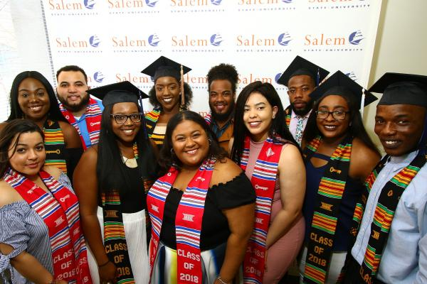 Group of students with ALANA commencement stoles