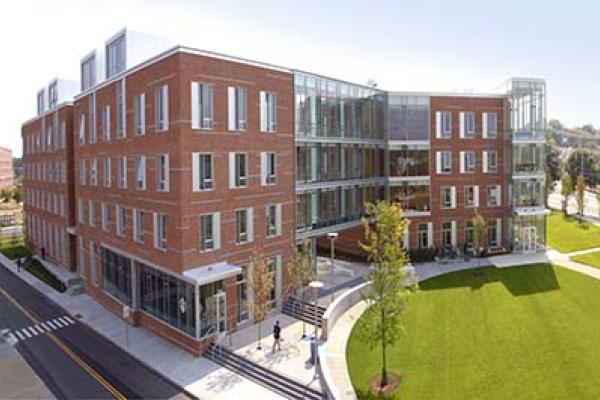 An overhead view of Salem State's Viking Hall located on Central Campus.