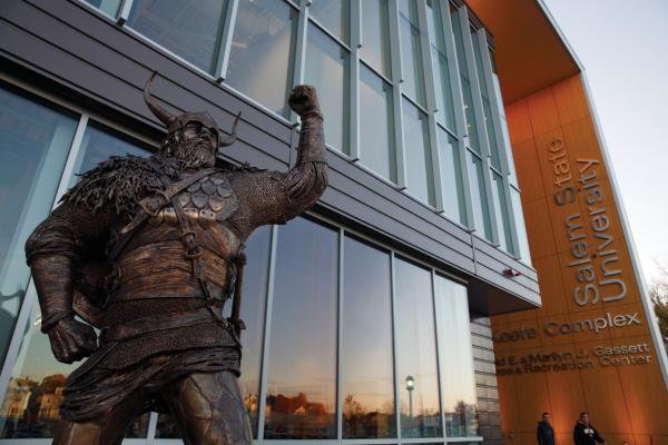 Viking statue in front of fitness center.
