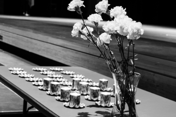 Flowers and candles on a table