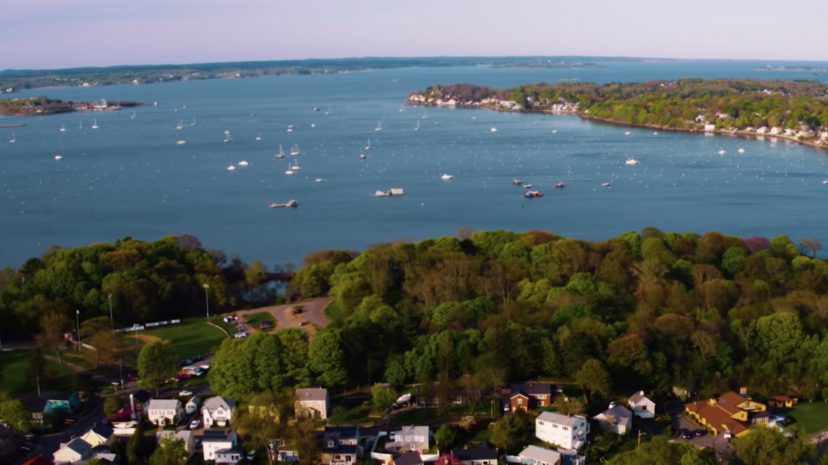 Aerial view of Salem harbor