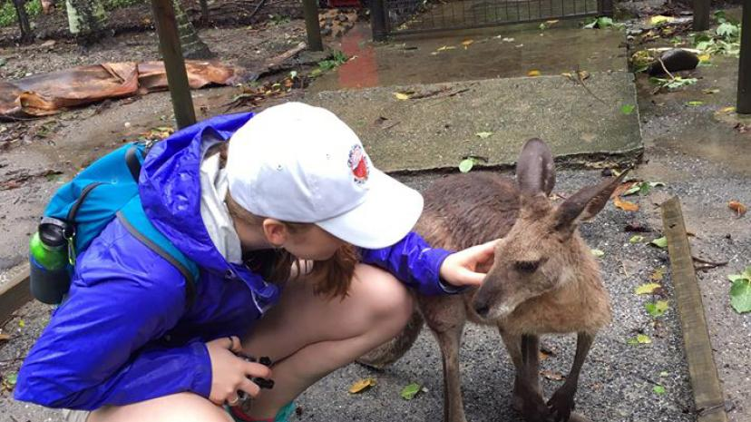 A study abroad student with a kangaroo