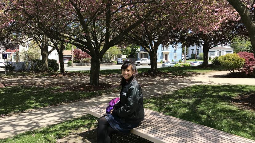Business student Trang Vu '19 on campus